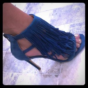 Blue suede fringy heels
